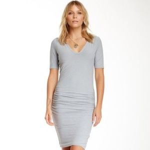 James Perse V-Neck Ruched Dress